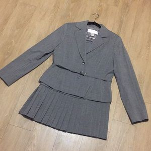 Jackets & Blazers - Belted, Pleated Skirt Suit
